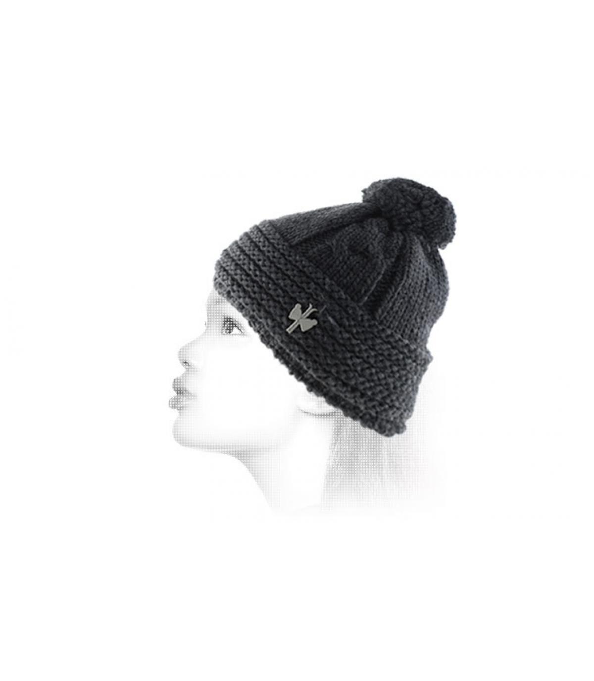 Bommelmütze Damen schwarz Mütze