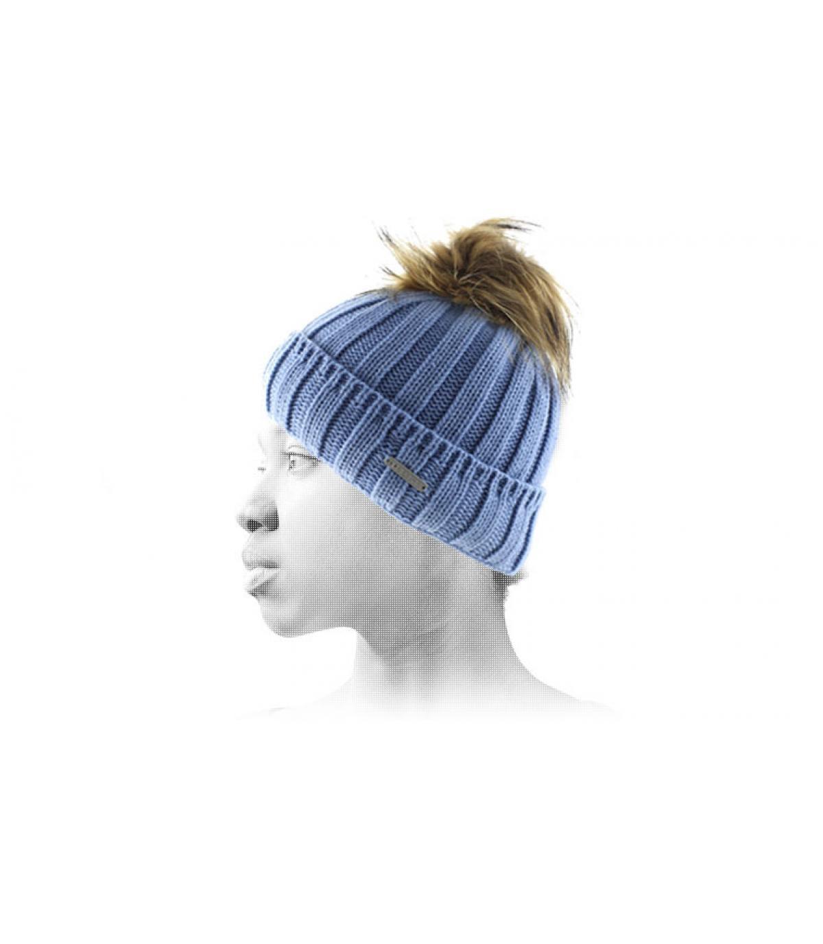 Mütze blau große Fellbommel Bommel