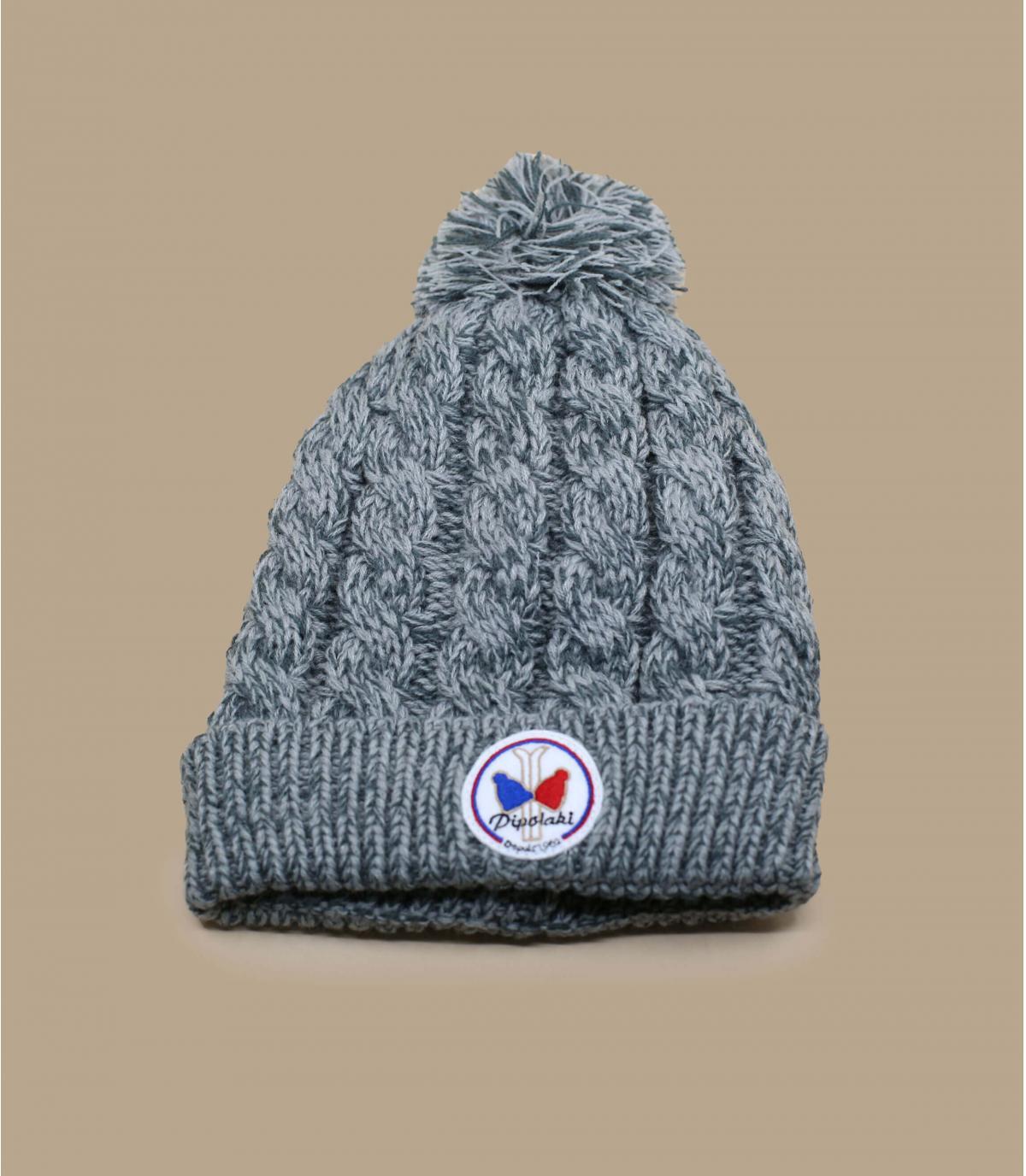 Mütze grau Bommelmütze Zopfmuster
