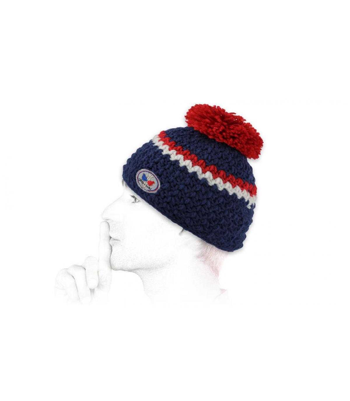 Mütze blau weiß rot Bommelmütze