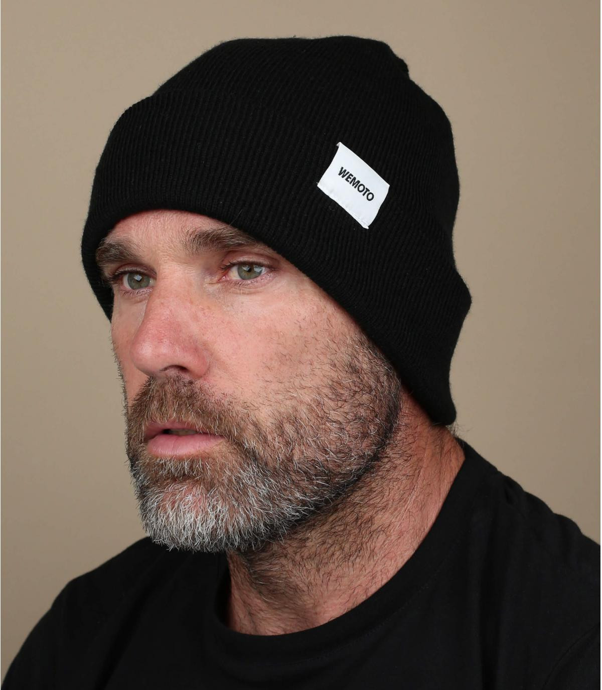 Mütze mit Rand schwarz Beanie
