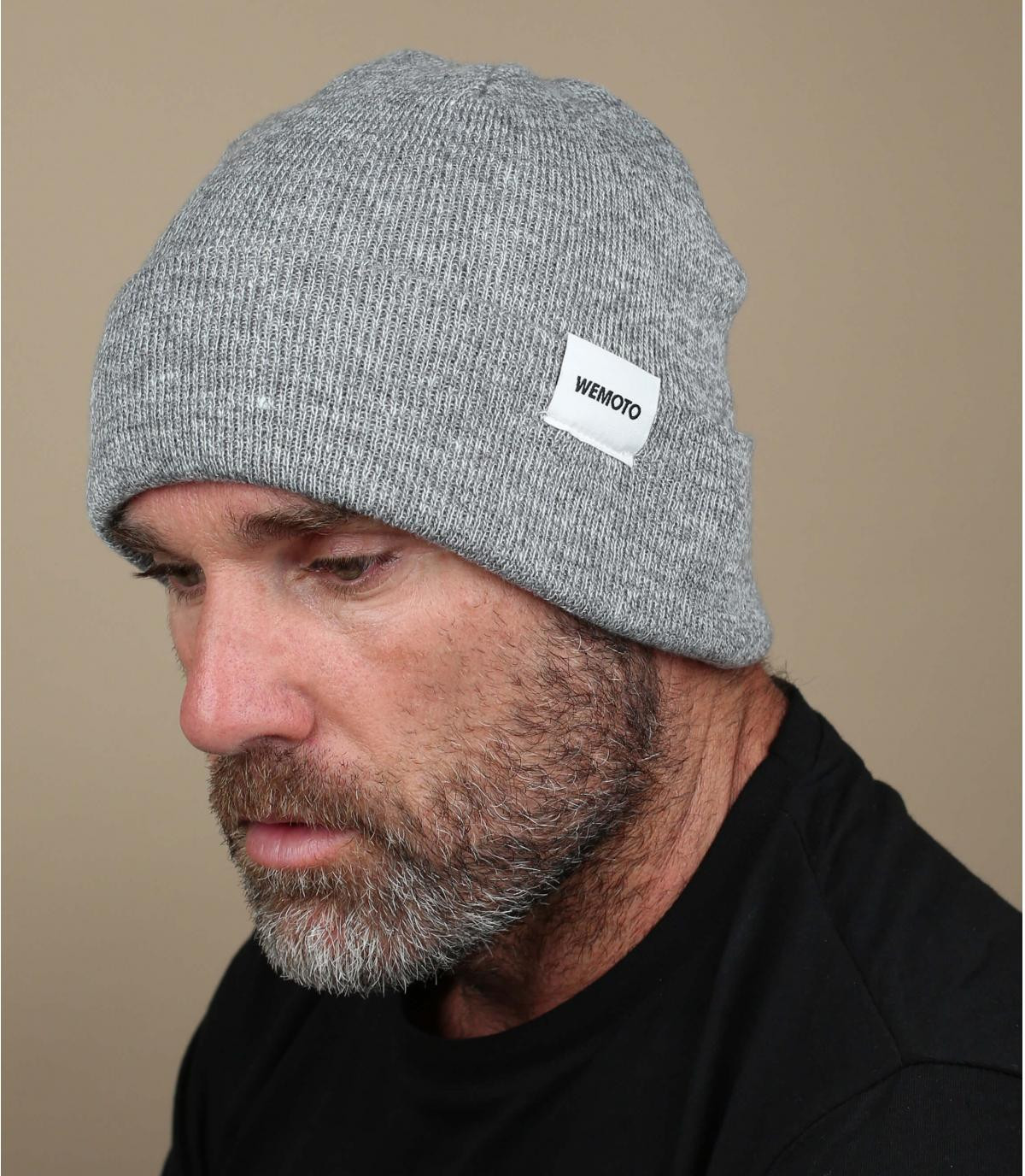 Beanie Mütze mit Rand grau