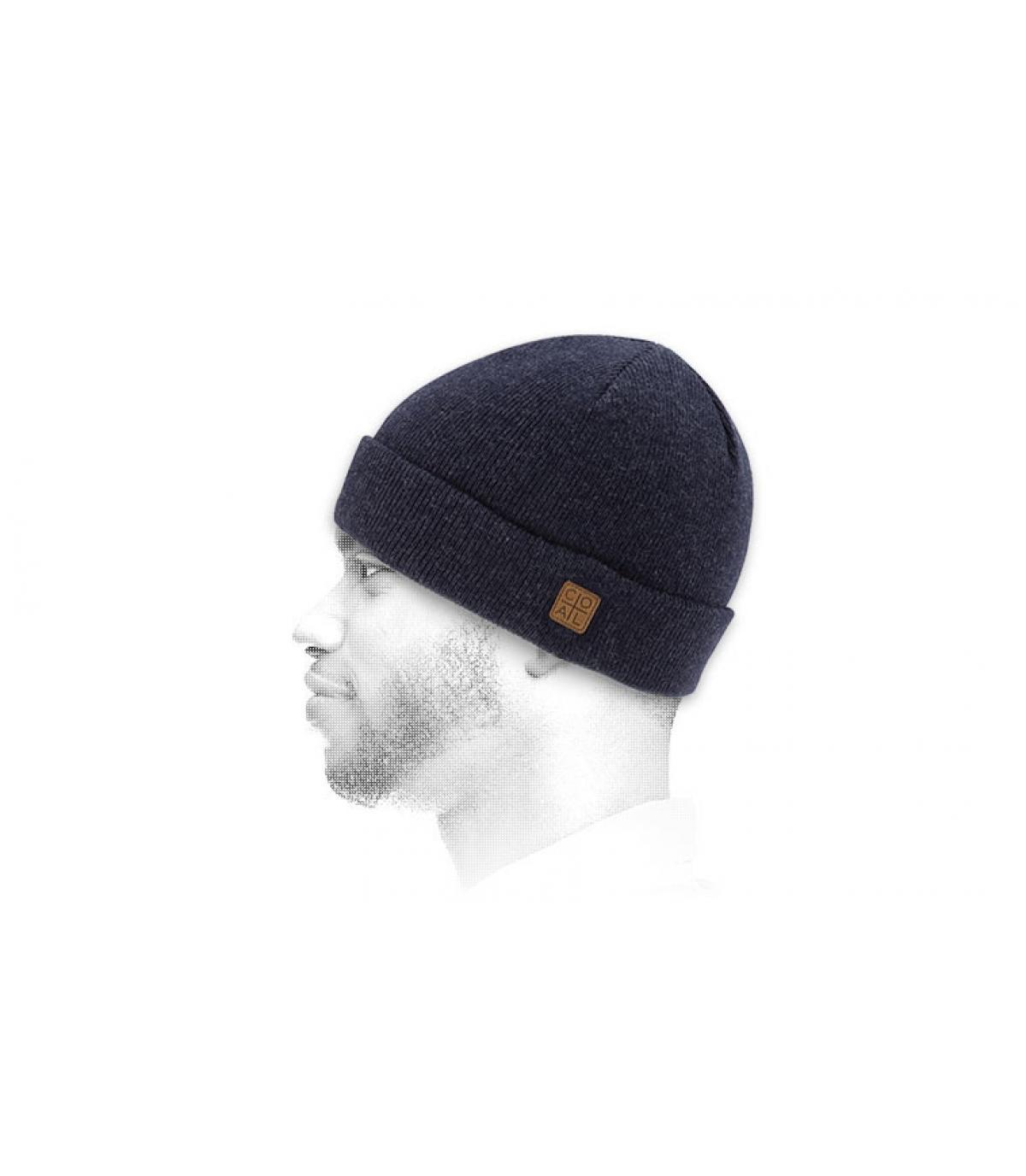 Mütze Rand marieneblau meliert Beanie