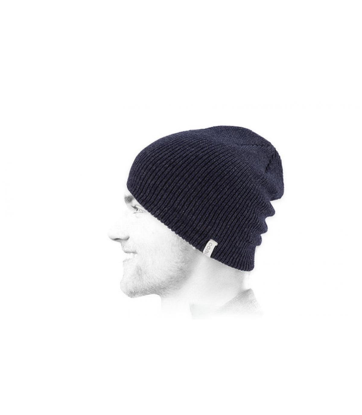 Mütze Beanie lang blau meliert