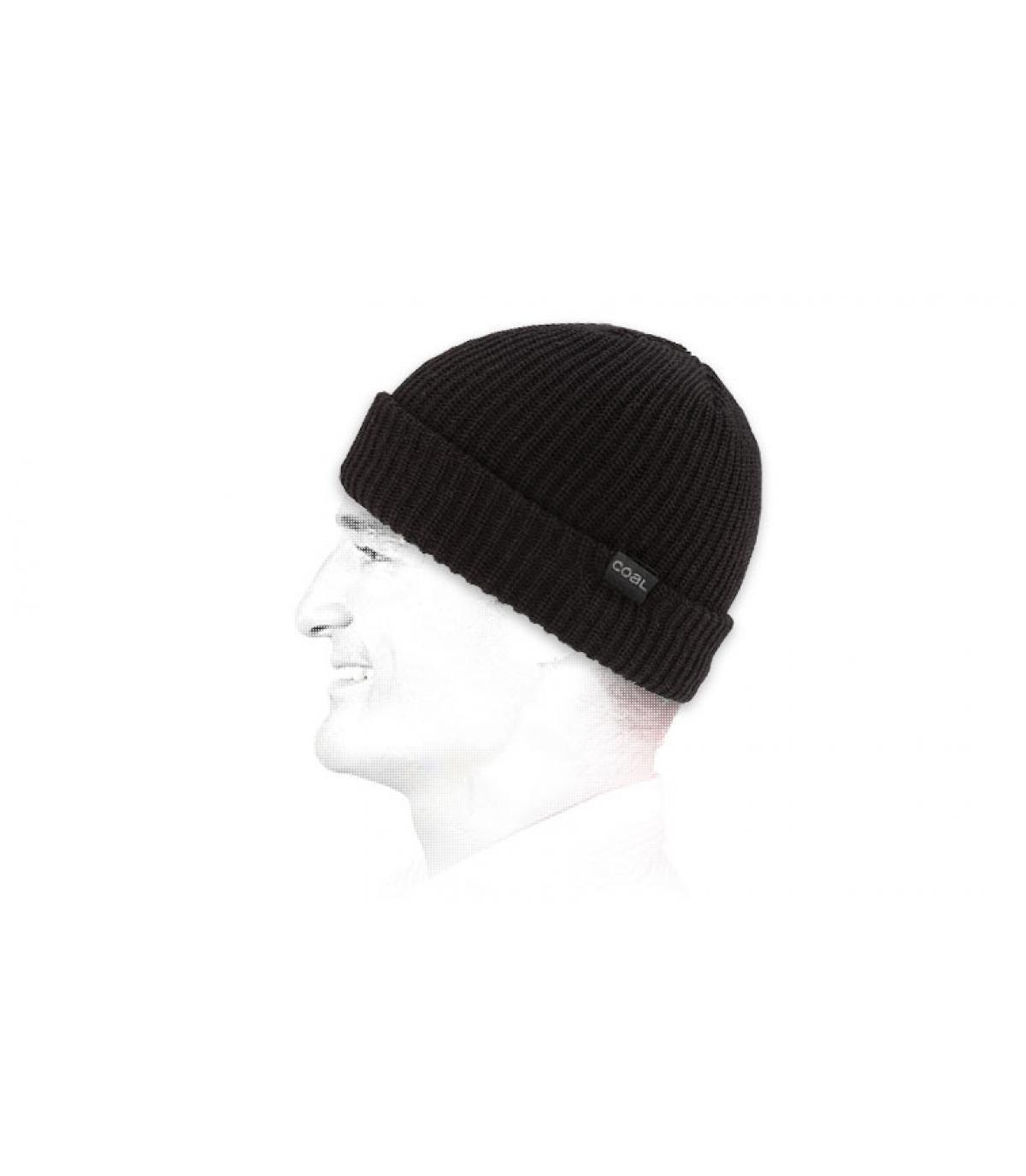 Mütze mit Rand einfarbig schwarz