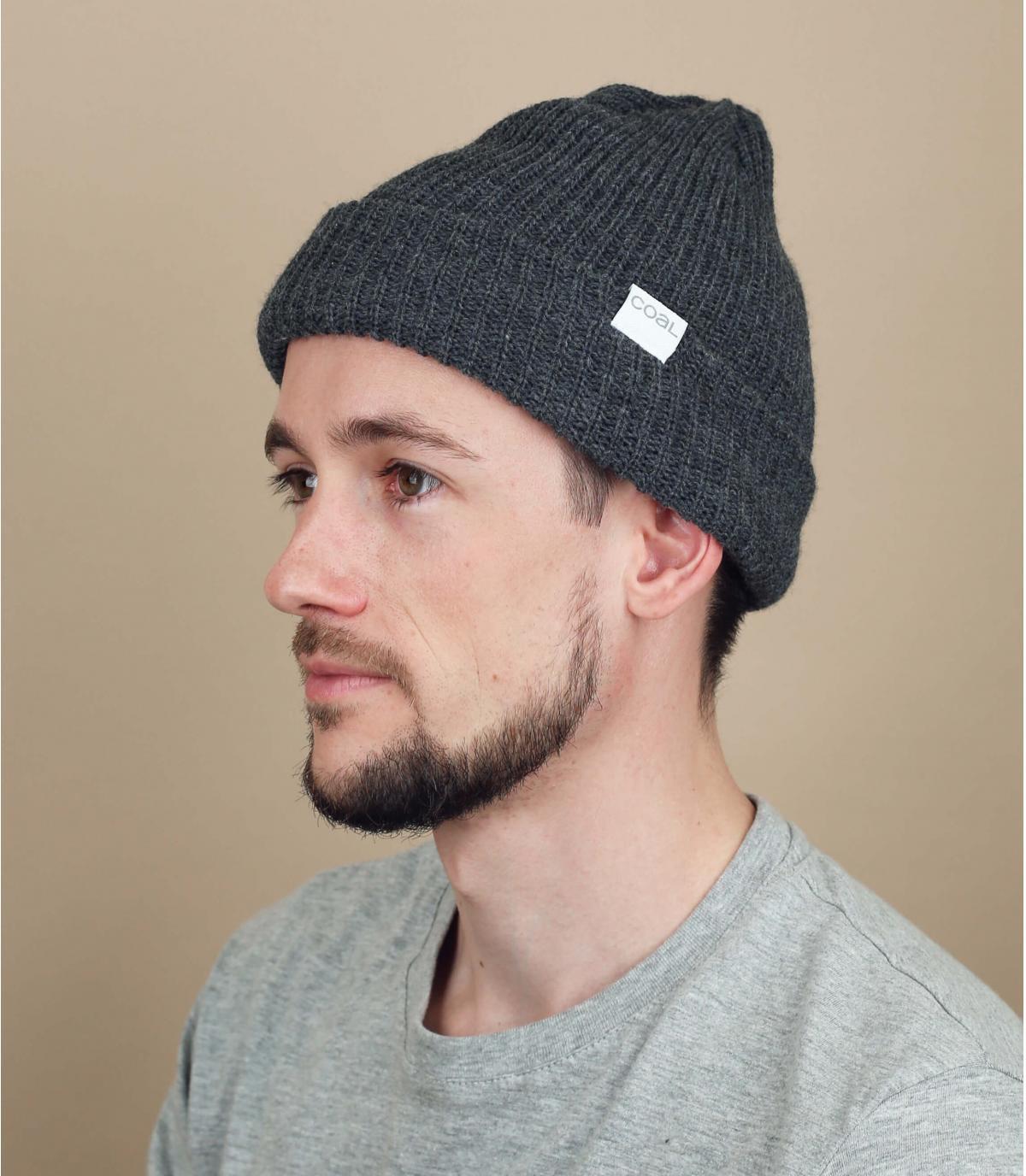 Mütze mit Rand einfarbig grau