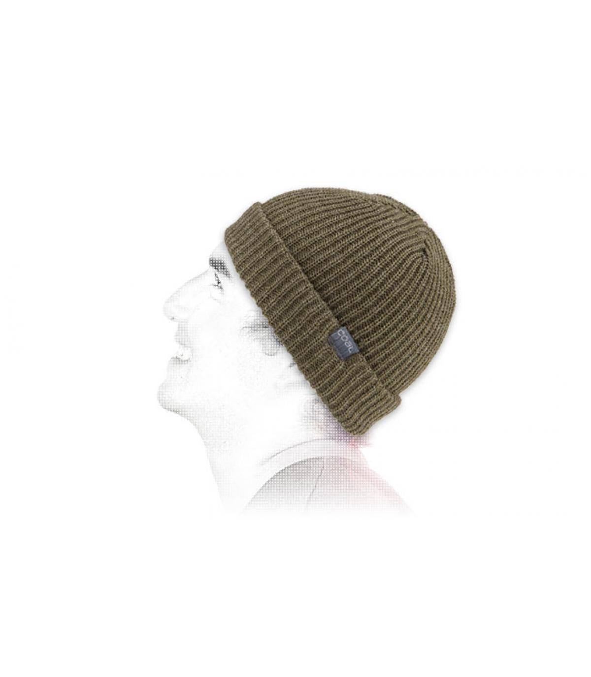 Mütze mit Rand einfarbig grün