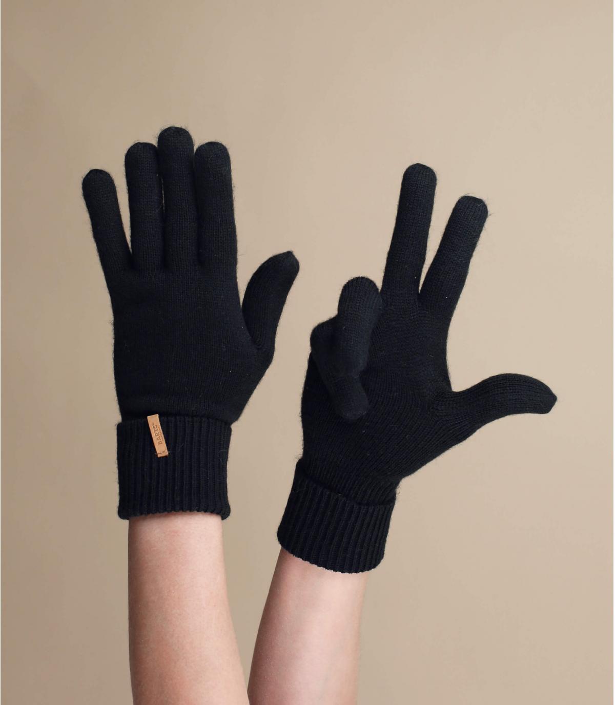 Fine Gestrickte Handschuhes schwarz