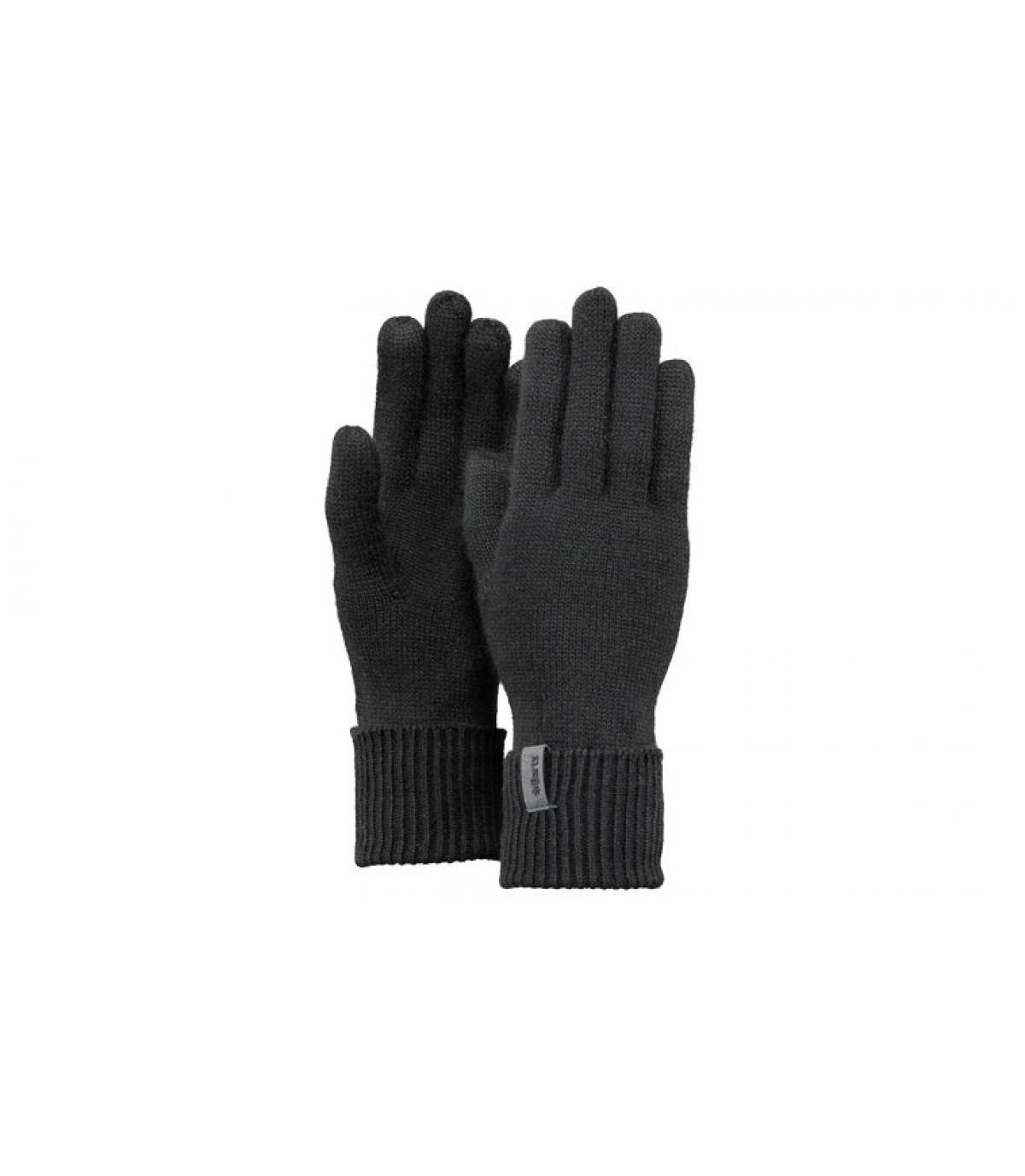 Details Fine Gestrickte Handschuhes schwarz - Abbildung 3