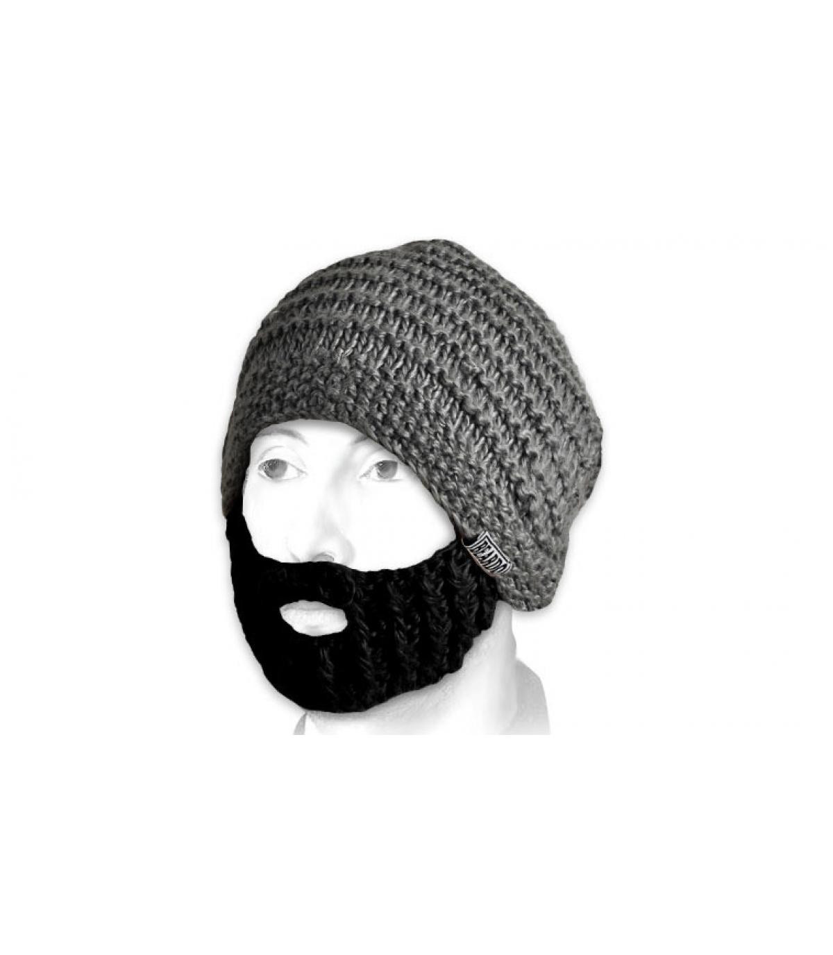 Mütze Bart grau schwarz