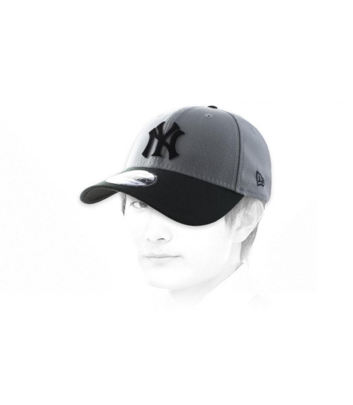 Cap NY grau schwarz