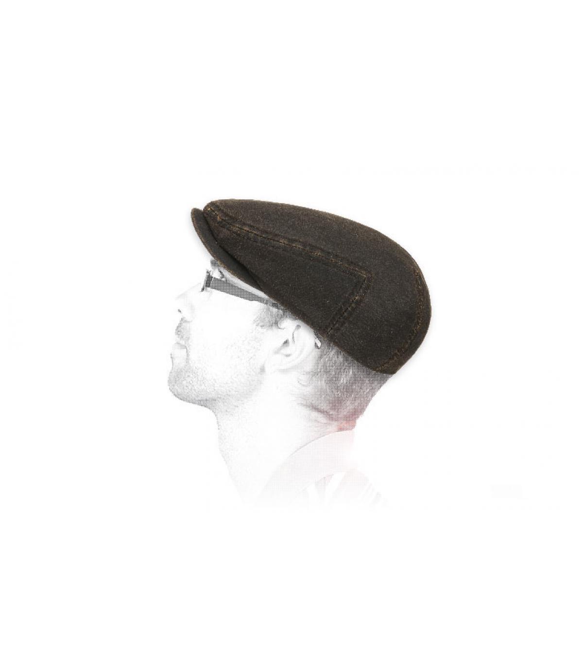 Flatcap gewachste Baumwolle braun