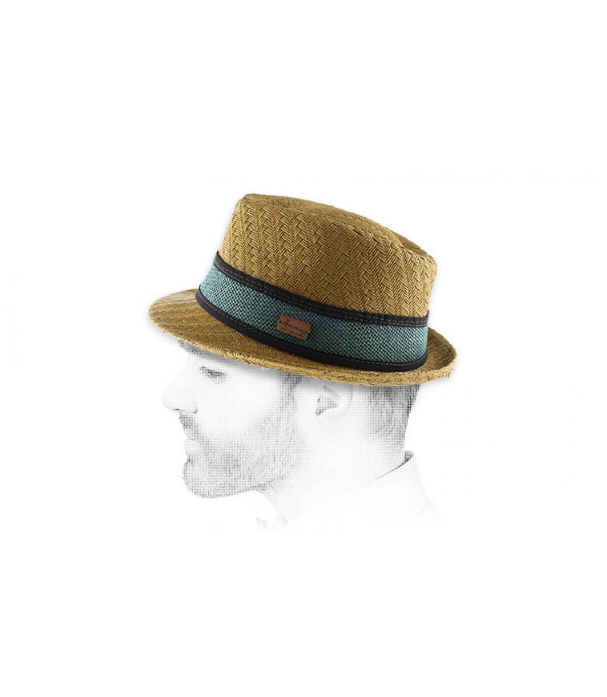 Trilby Strohhut beige blaue Borte