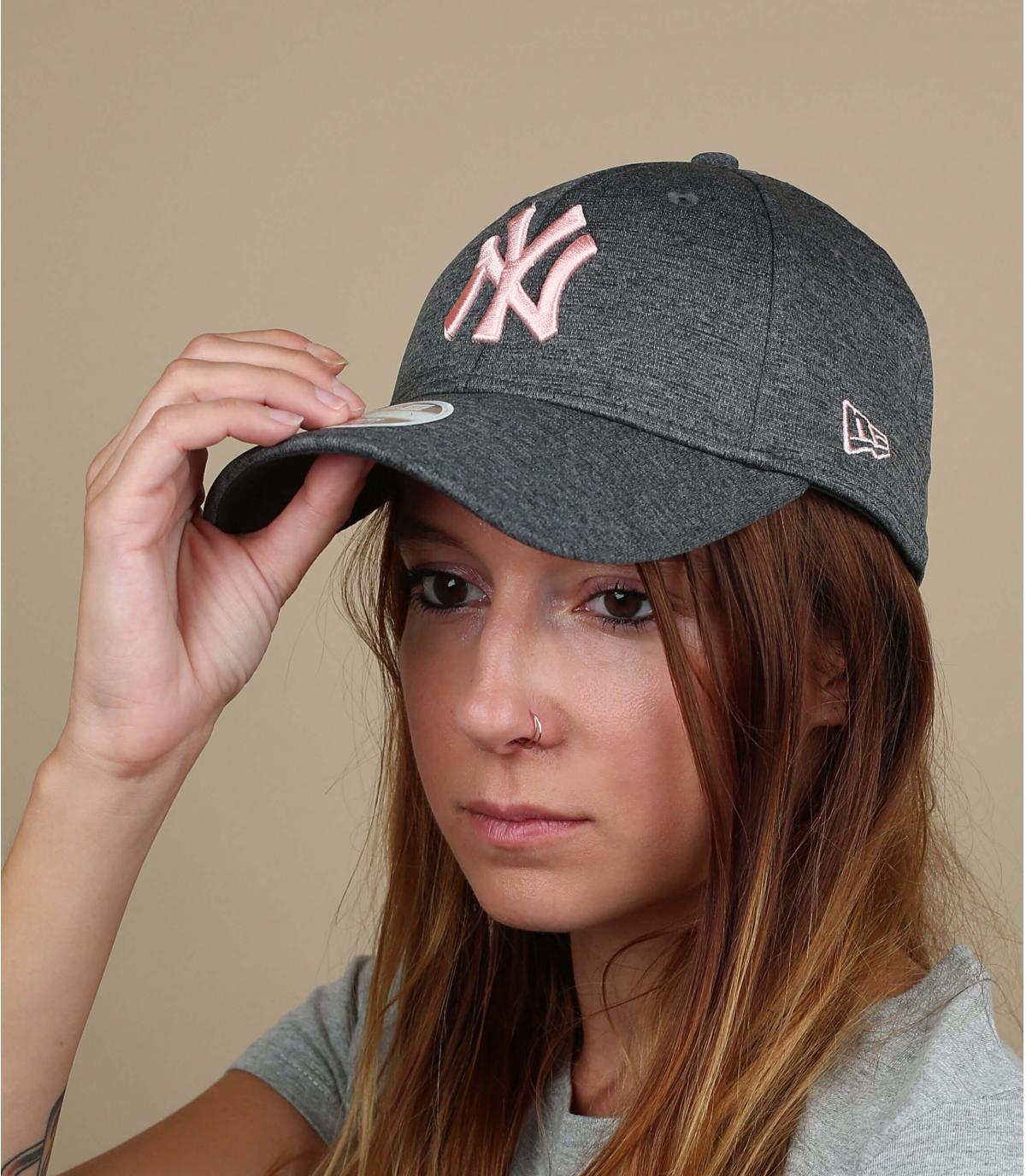 Damen Cap NY grau rosa