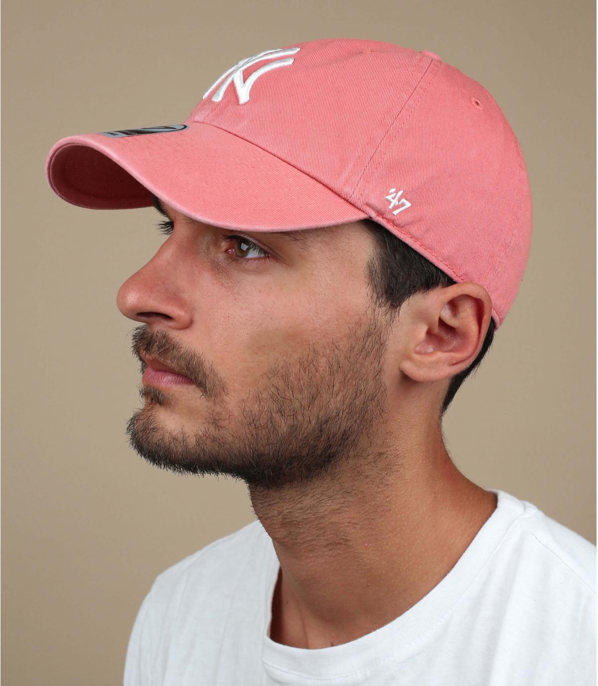 NY Baseball Cap korallenrot