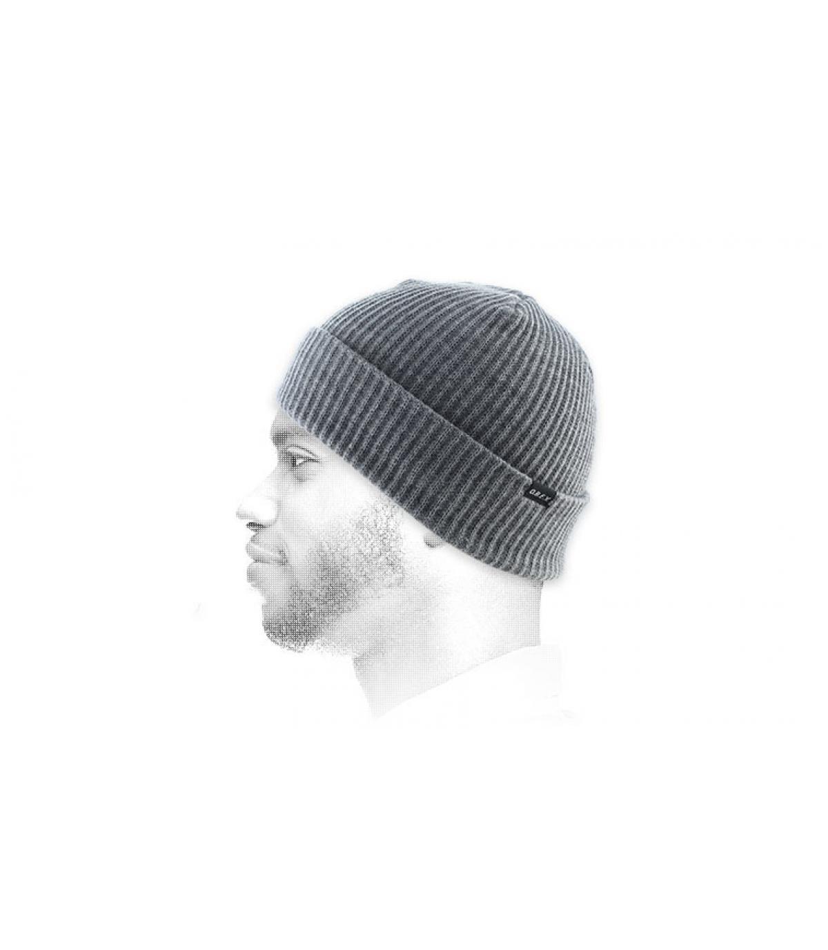 Grau meliert Mütze Revers Obey