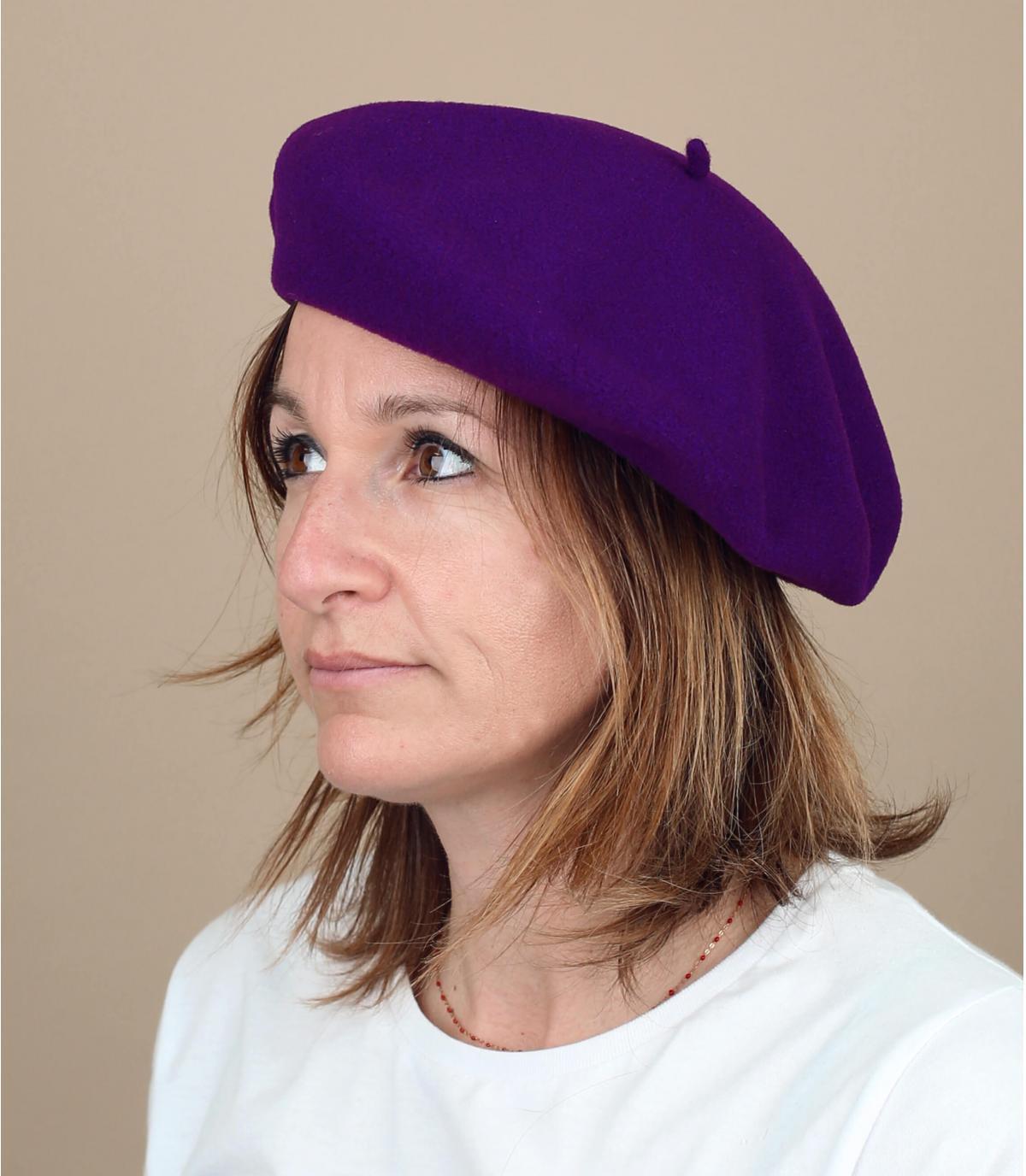 Baskenmütze gefüttert violett