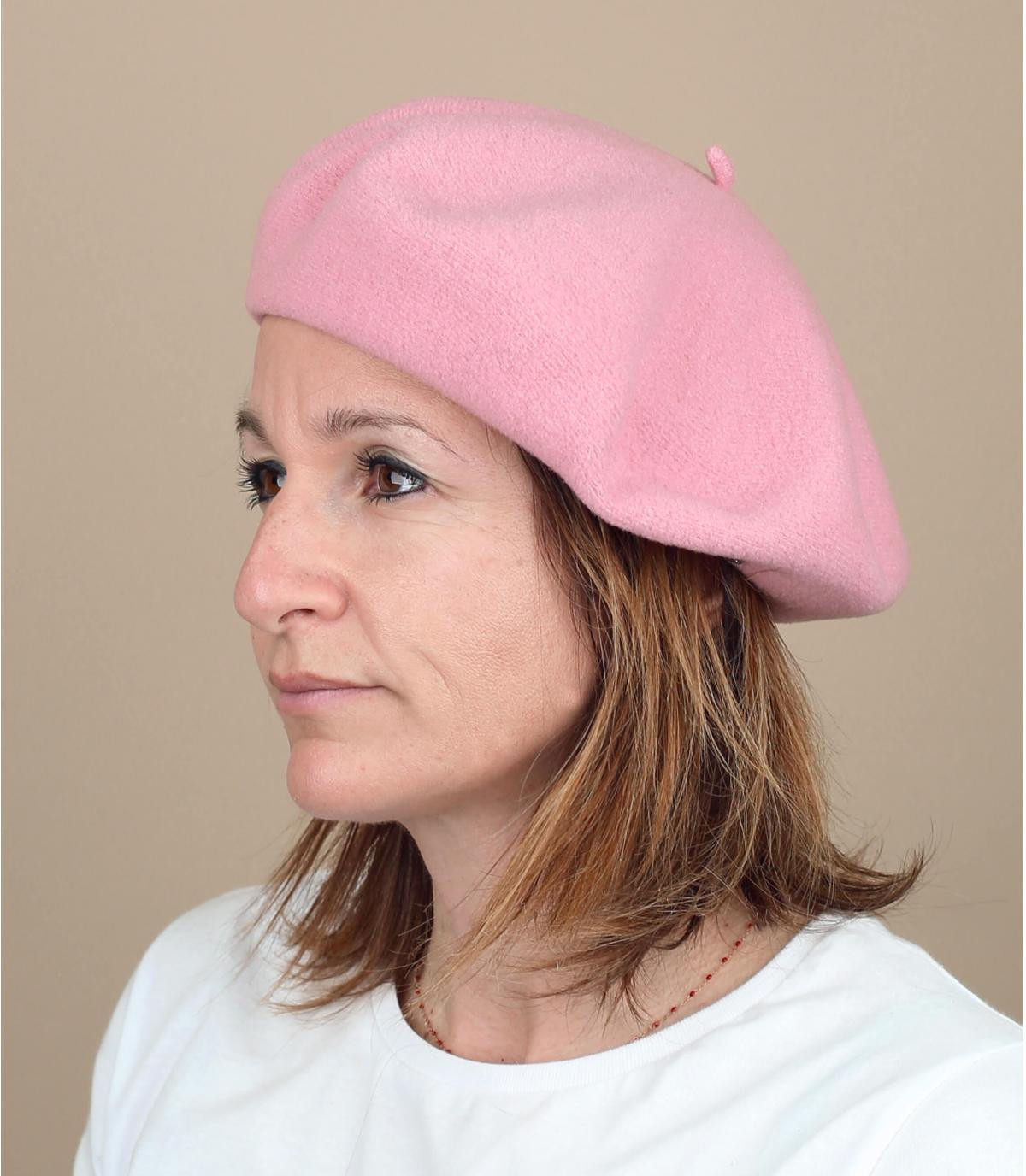 Baskenmütze rosa gefüttert