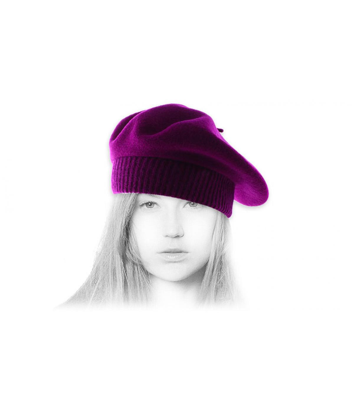 Barett gerippter Rand violett