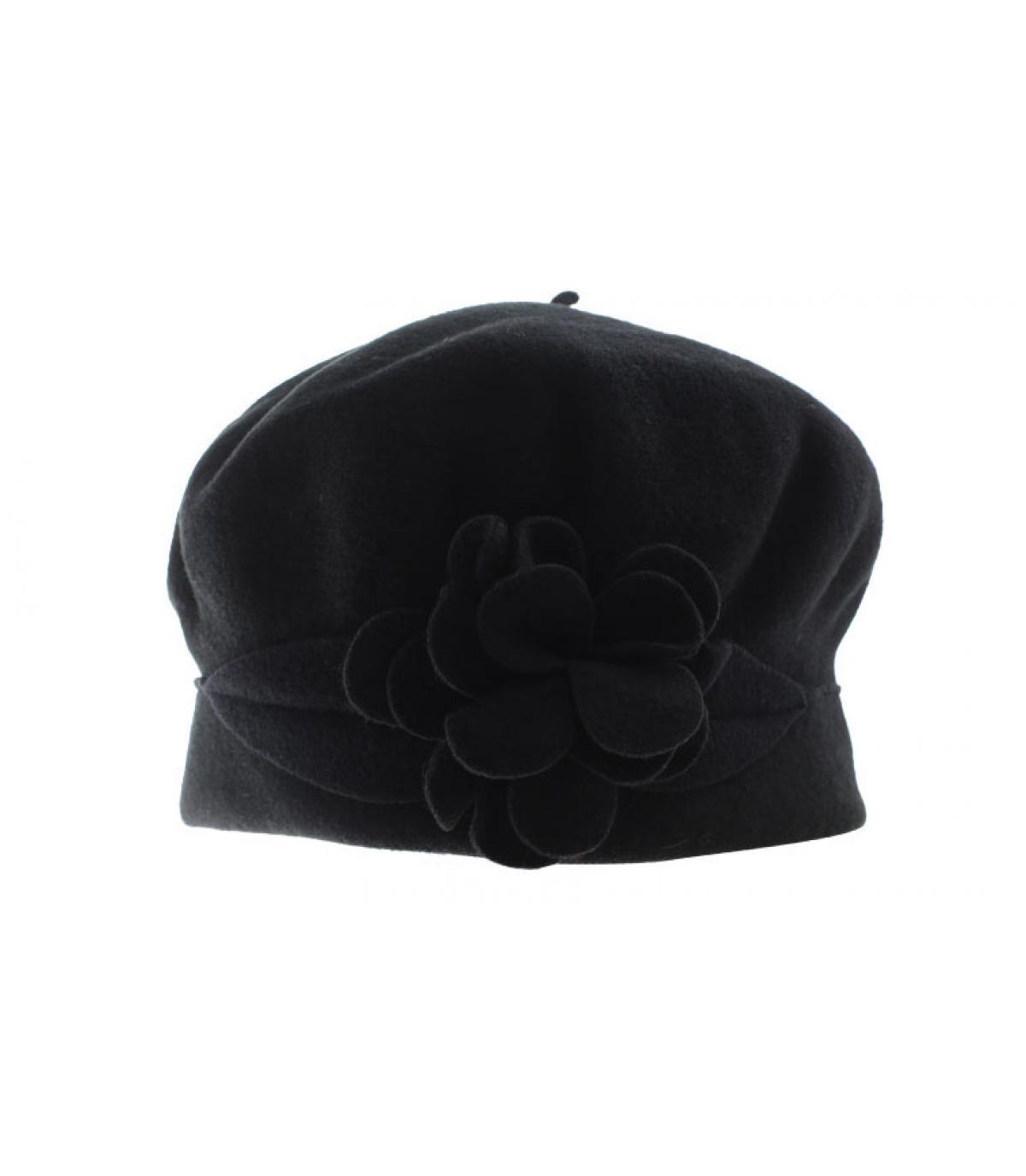 Mütze Blume schwarz Wolle