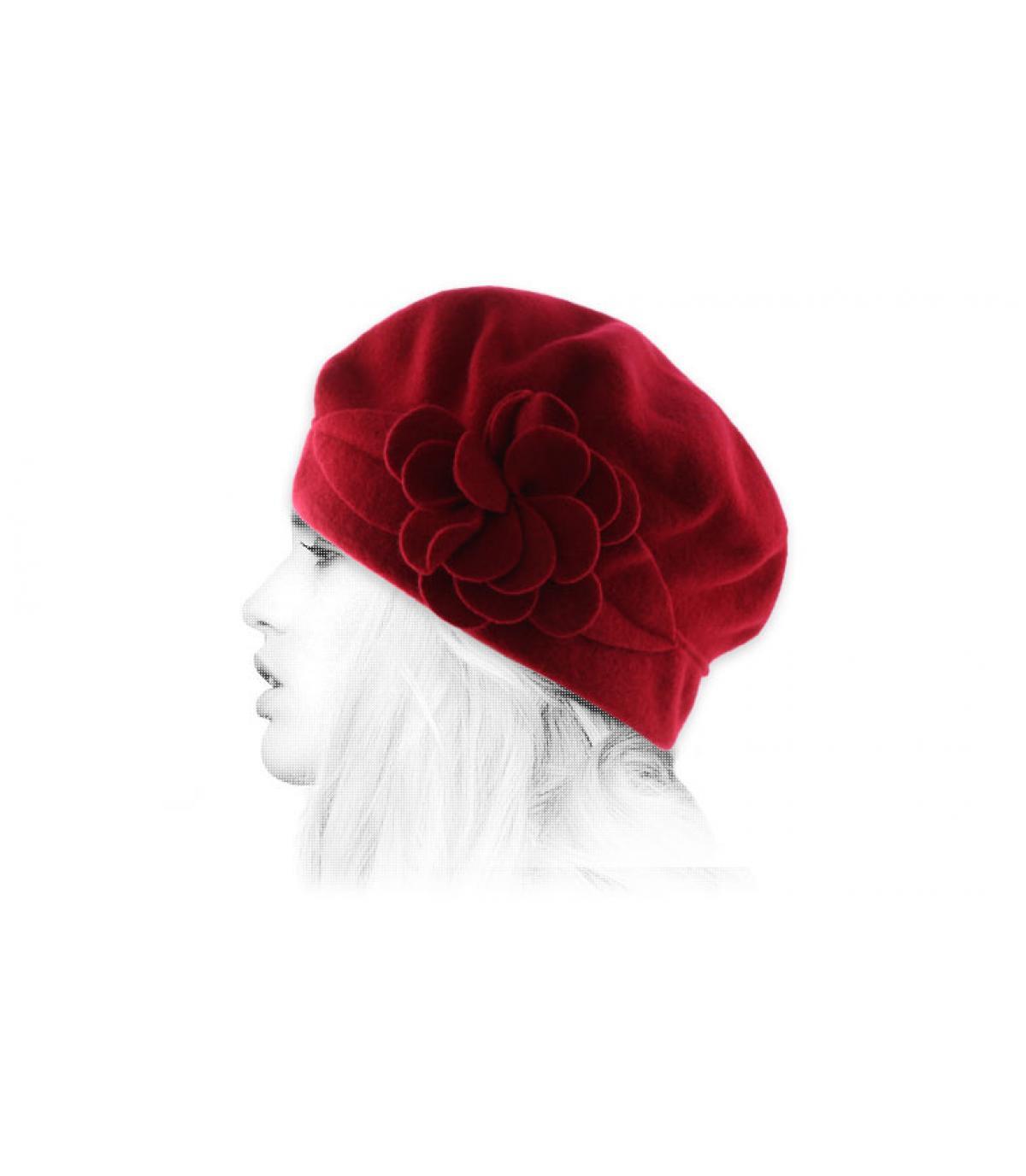 Mütze Blume rot Wolle