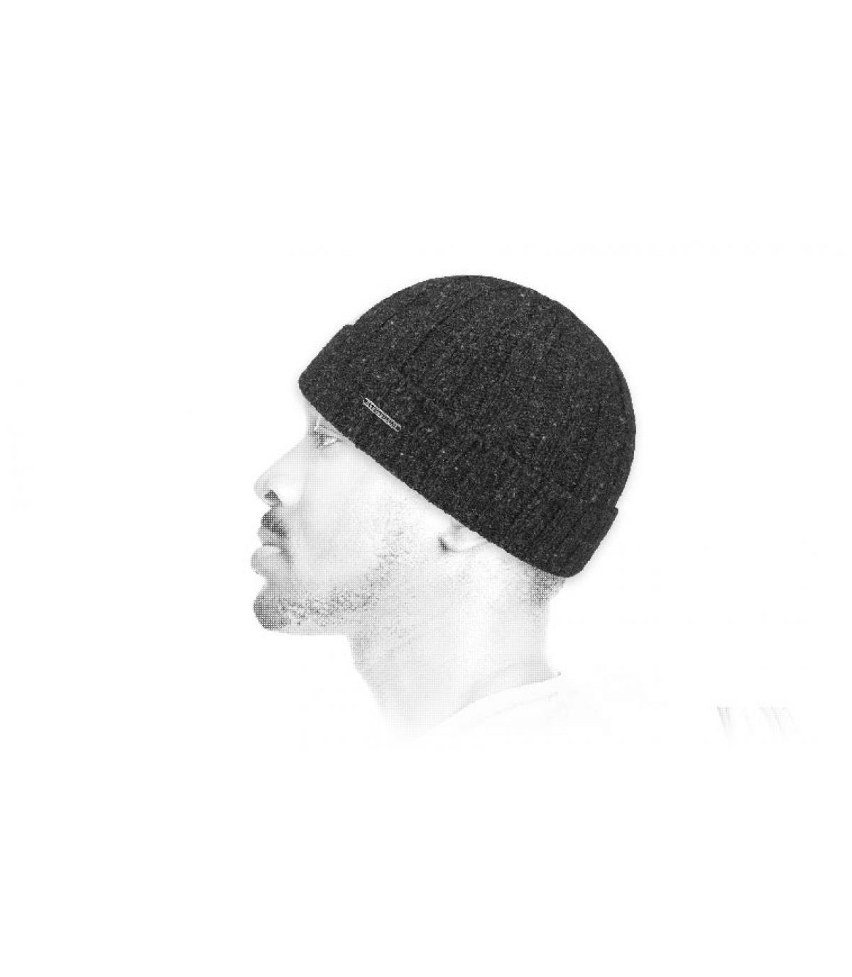 Mütze Revers grau Wolle