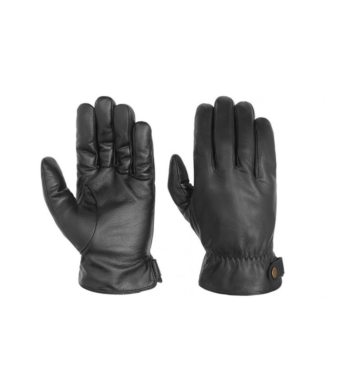 Handschuhe Touchscreen Leder schwarz Stetson