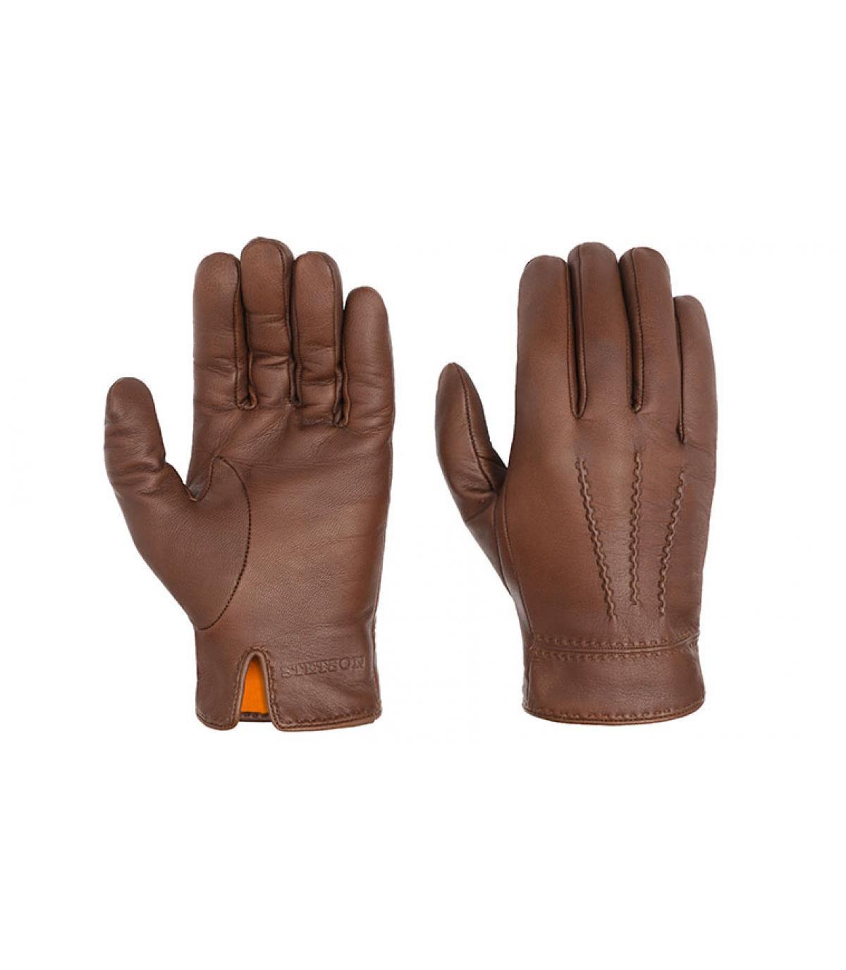 Handschuhe Leder braun Stetson