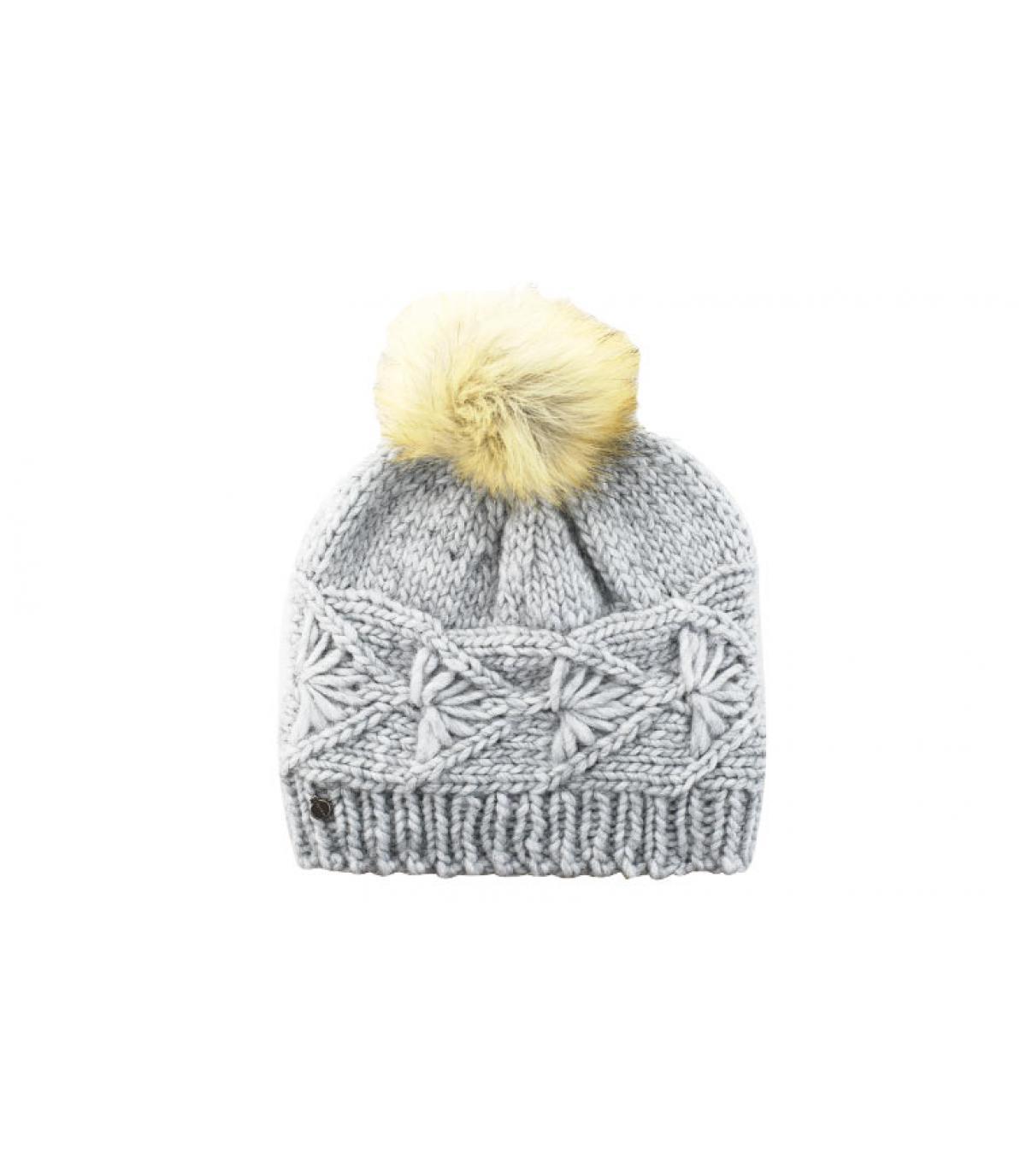 Mütze grau Zopfmuster Bommel