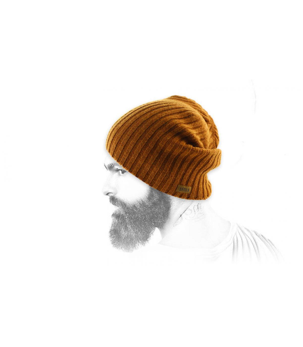 Oversize Mütze beige Wolle
