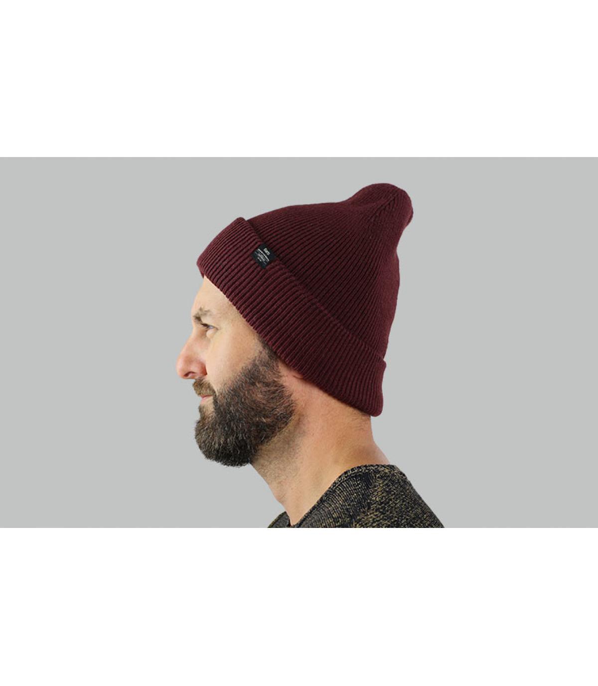 Lange Mütze Revers bordeaux