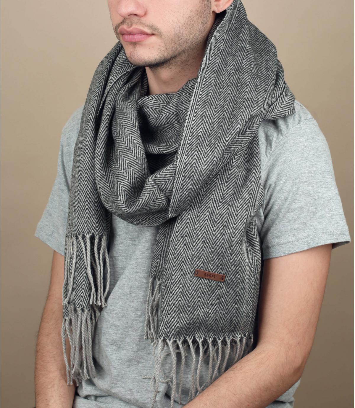 Schal einfarbig Fransen grau