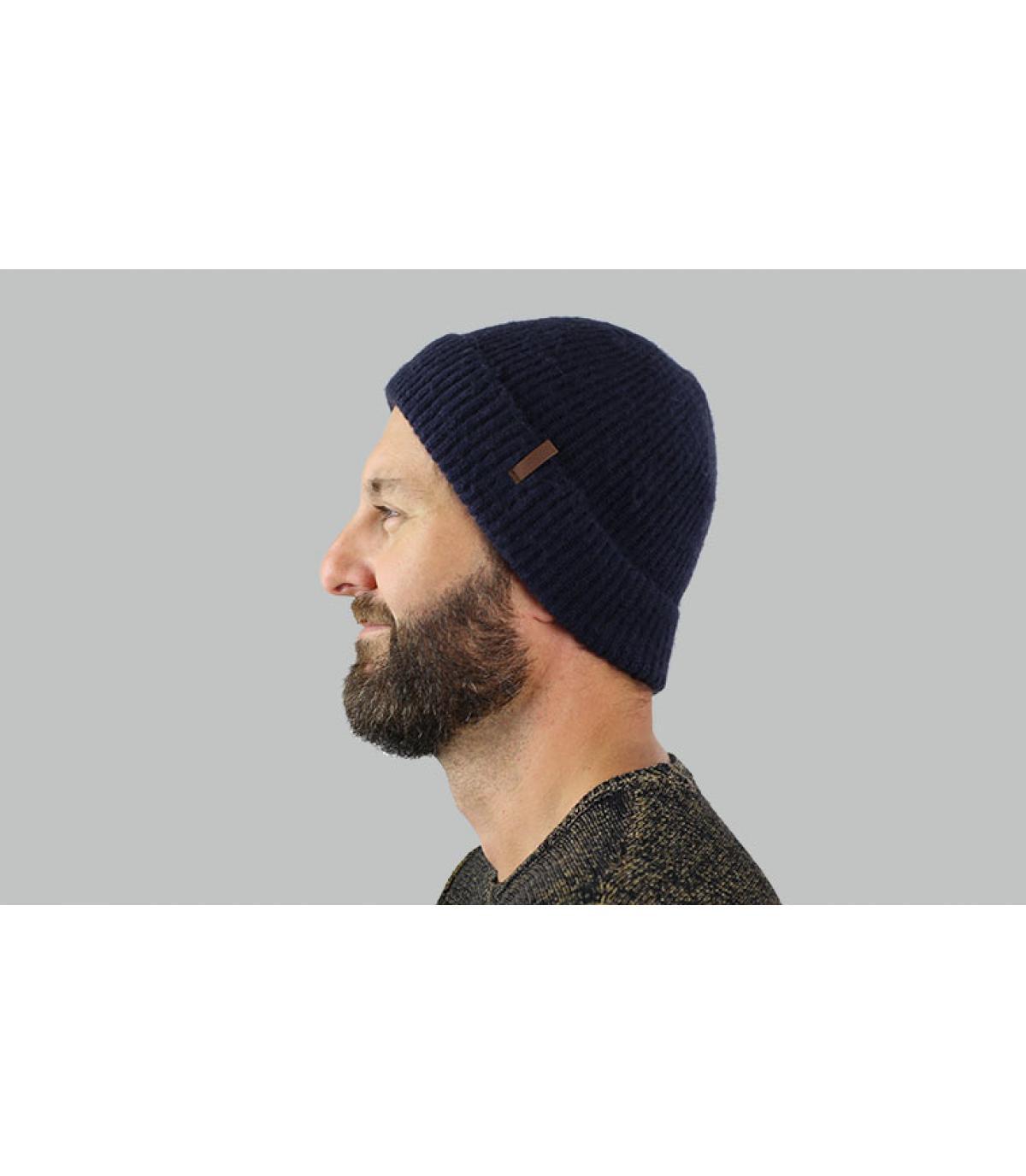 Mütze Revers Rippstrick blau