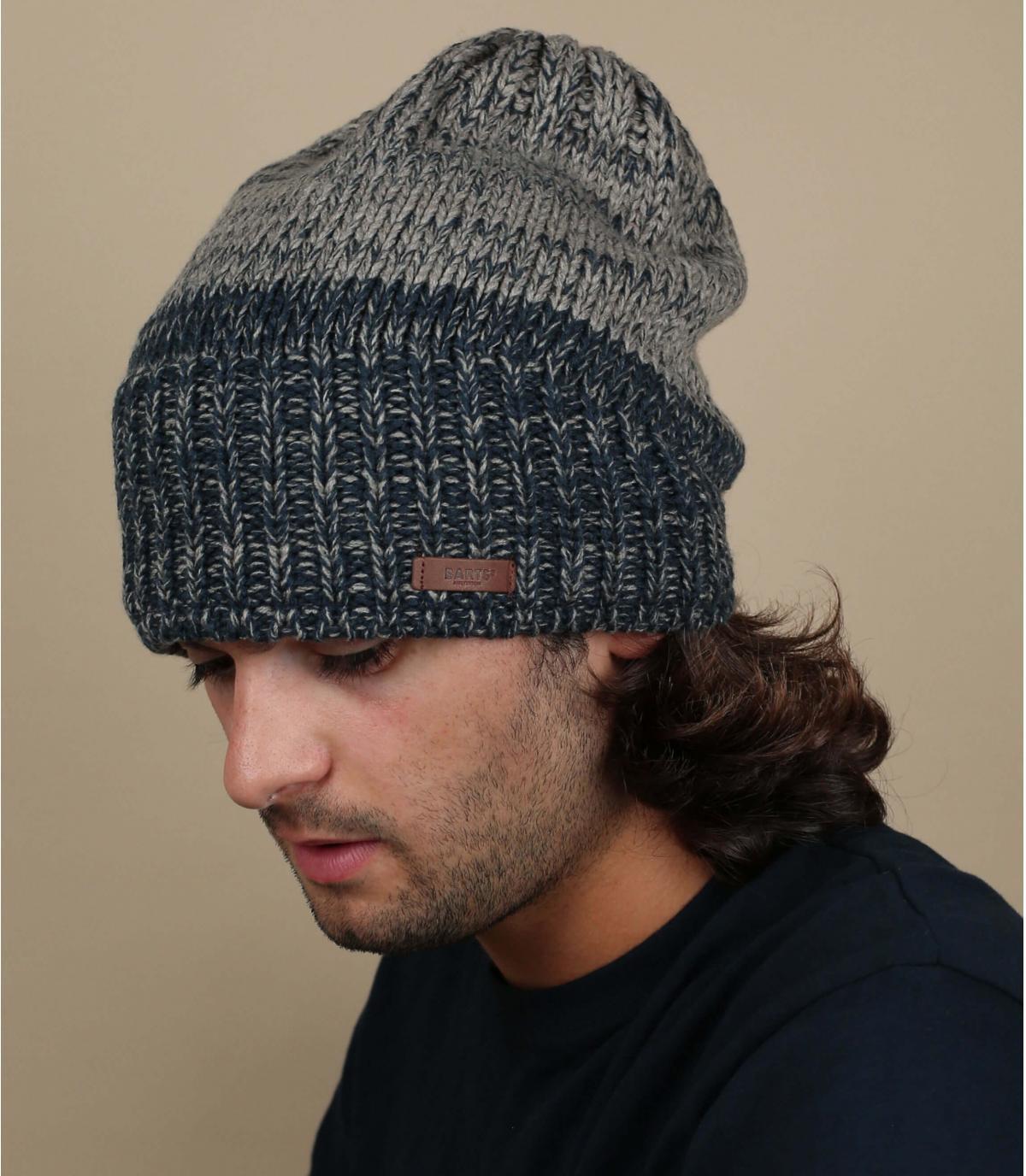 Oversize Mütze blau grau Barts
