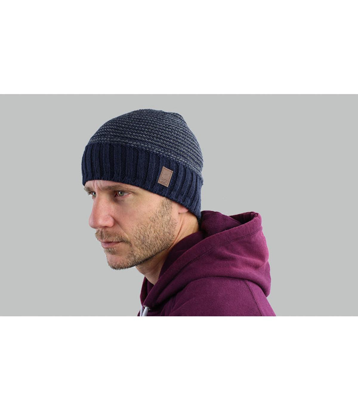 Mütze Streifen blau Barts
