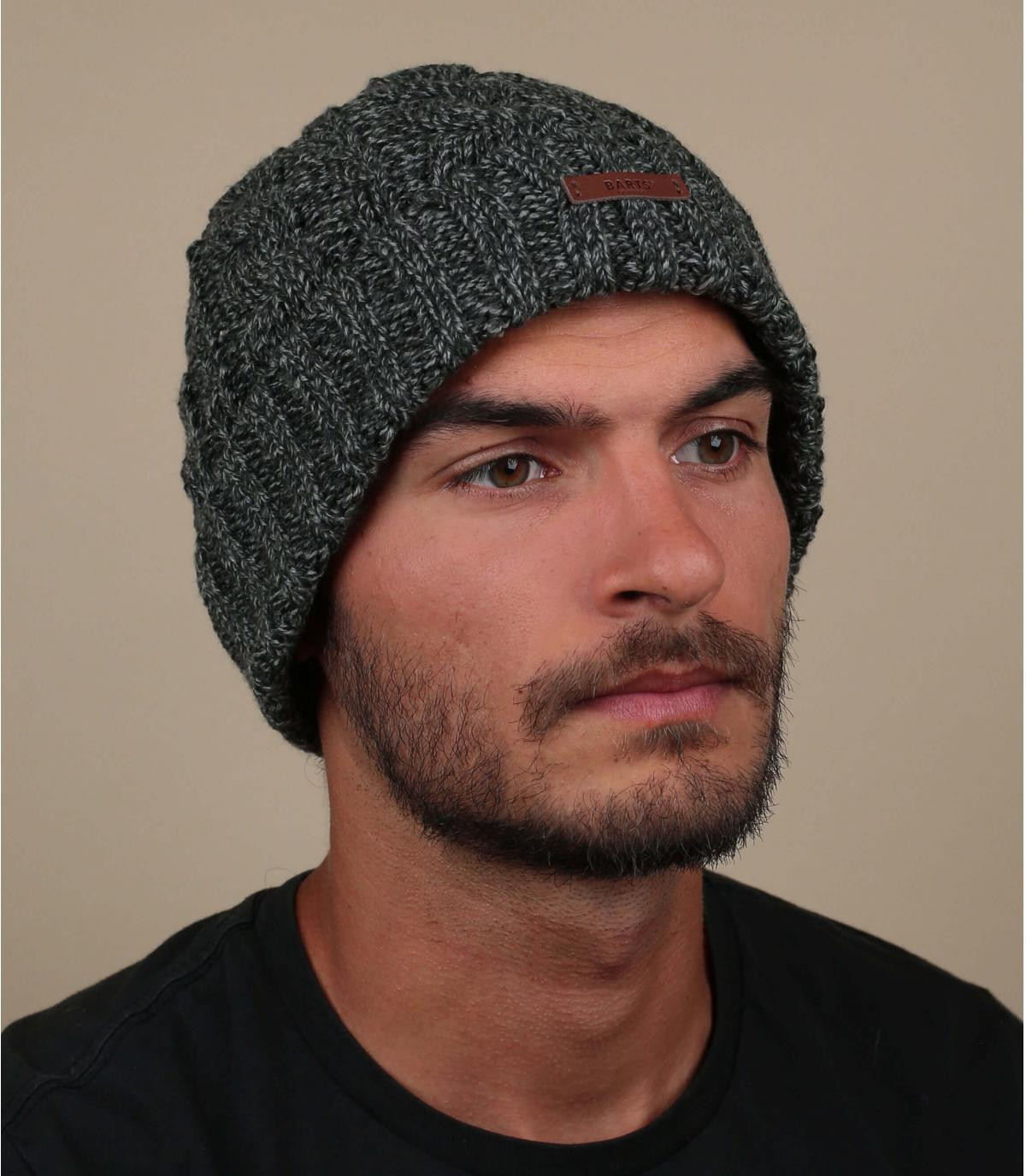 Mütze Revers Zopfmuster schwarz