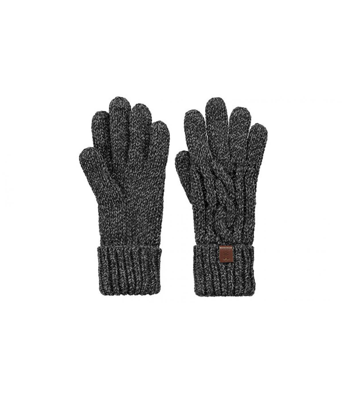 Handschuhe Zopfmuster schwarz Barts