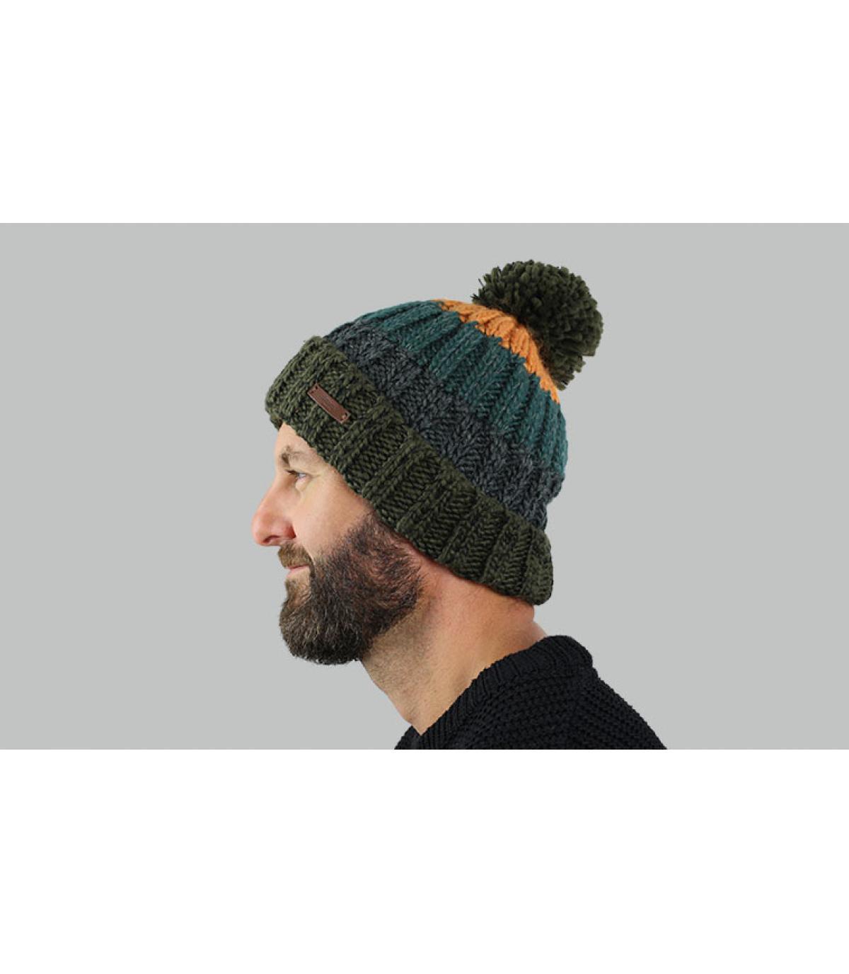 Bommel Mütze Streifen grün