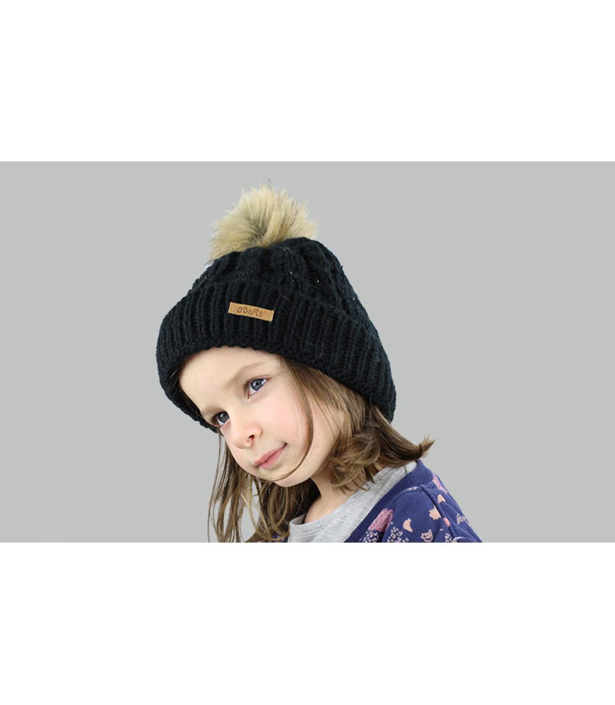 Mütze Zopfmuster schwarz Mädchen