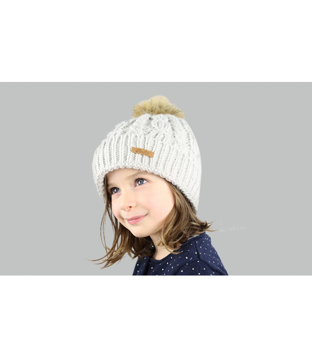 Hellgraue Mädchen Mütze