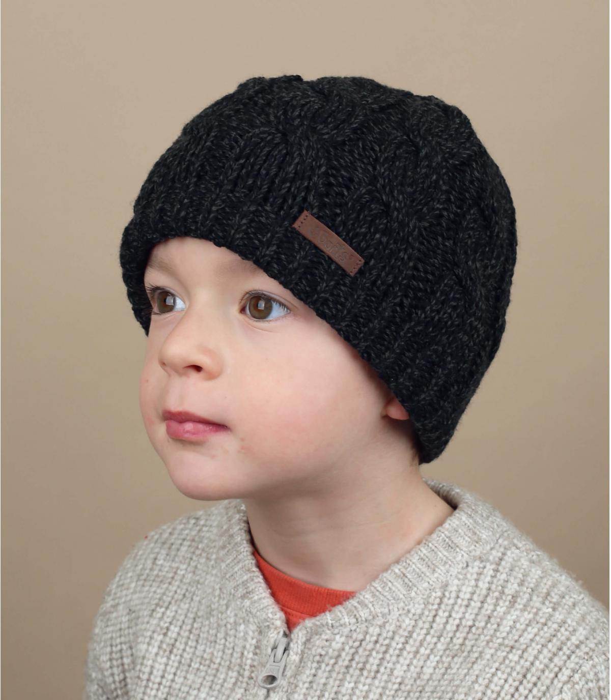 Mütze Zopfmuster Kinder schwarz
