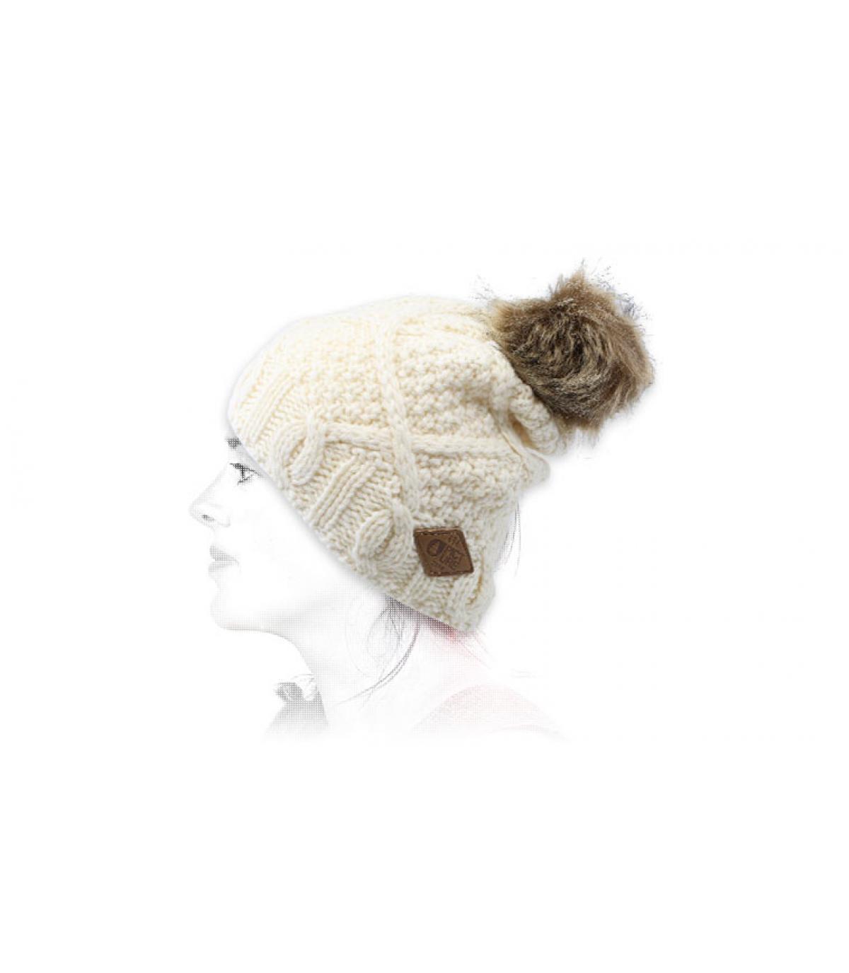 Bommelmütze weiß Wolle