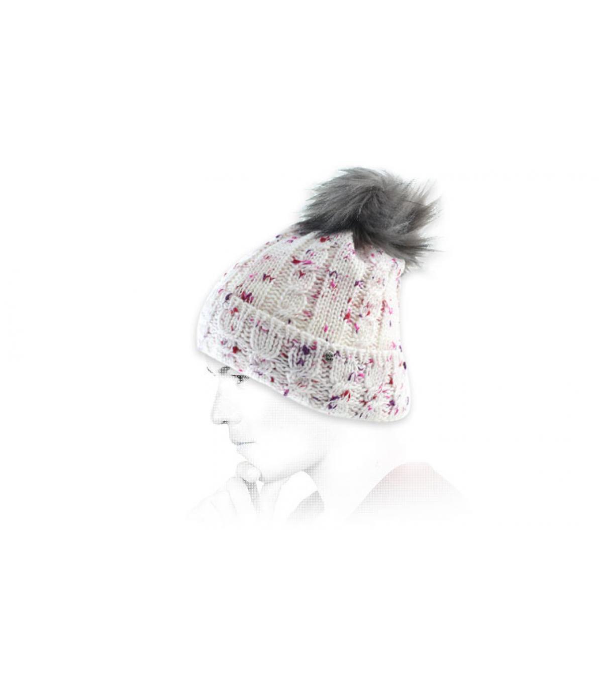 Bommelmütze weiß rosa