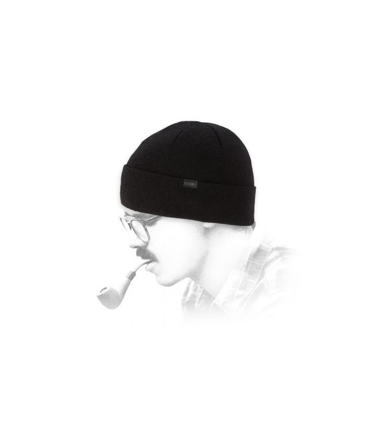 Mütze Merinowolle schwarz Coal