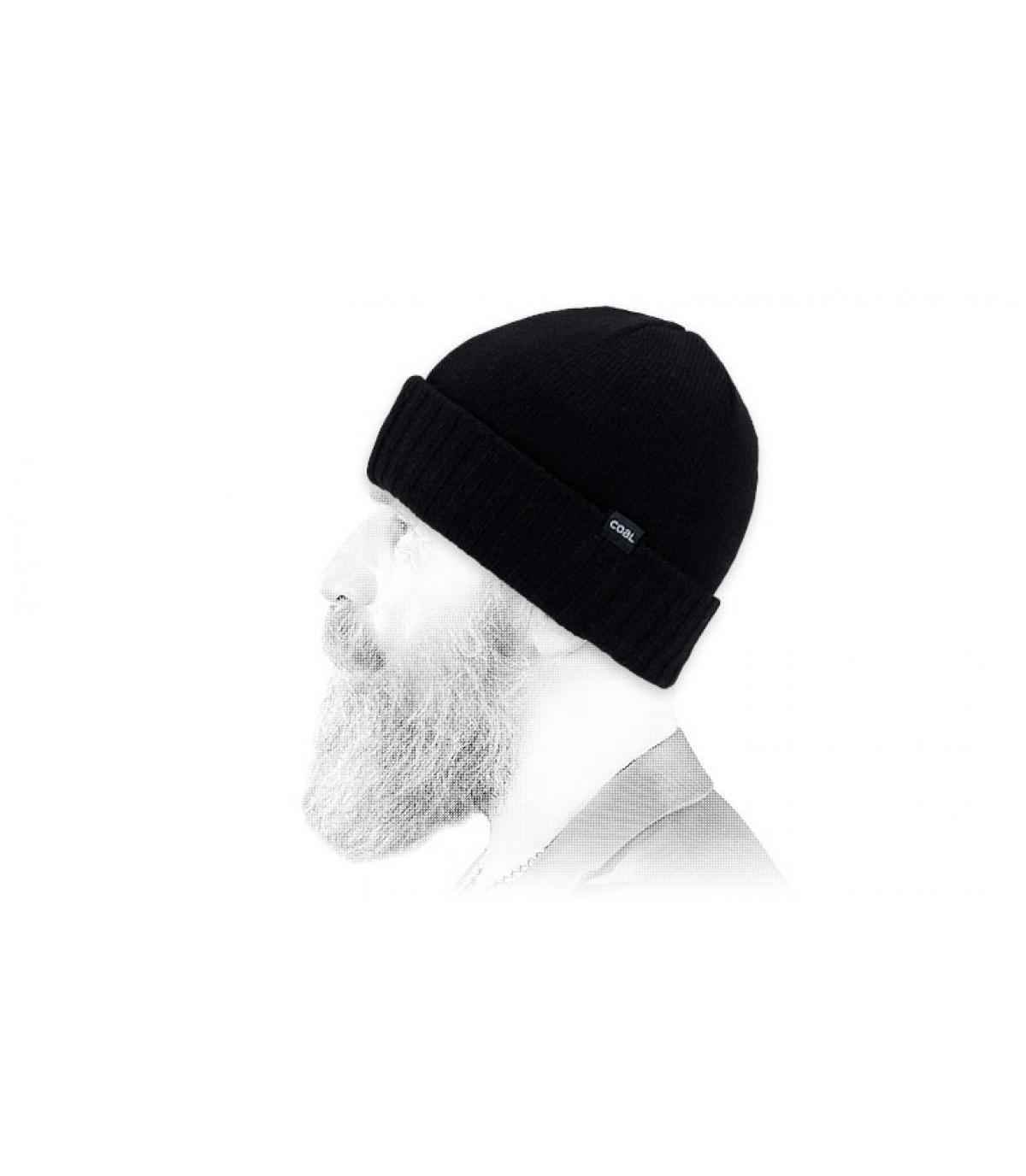 Mütze Wolle schwarz Coal