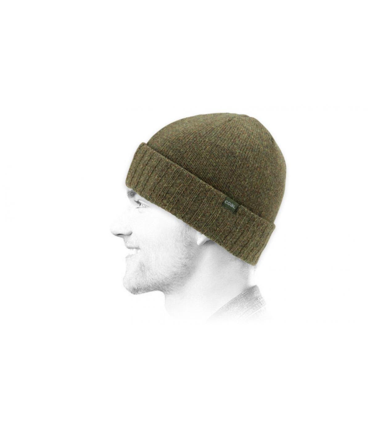 Mütze Wolle grün Coal