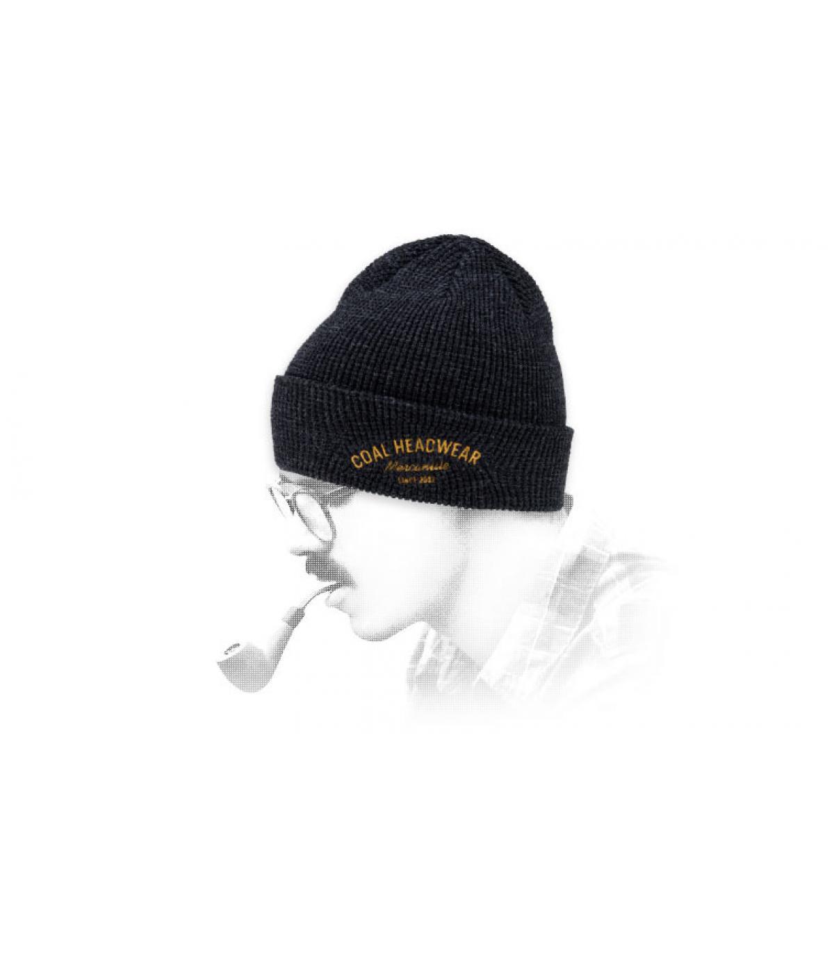 Schwarze Mütze Revers Coal