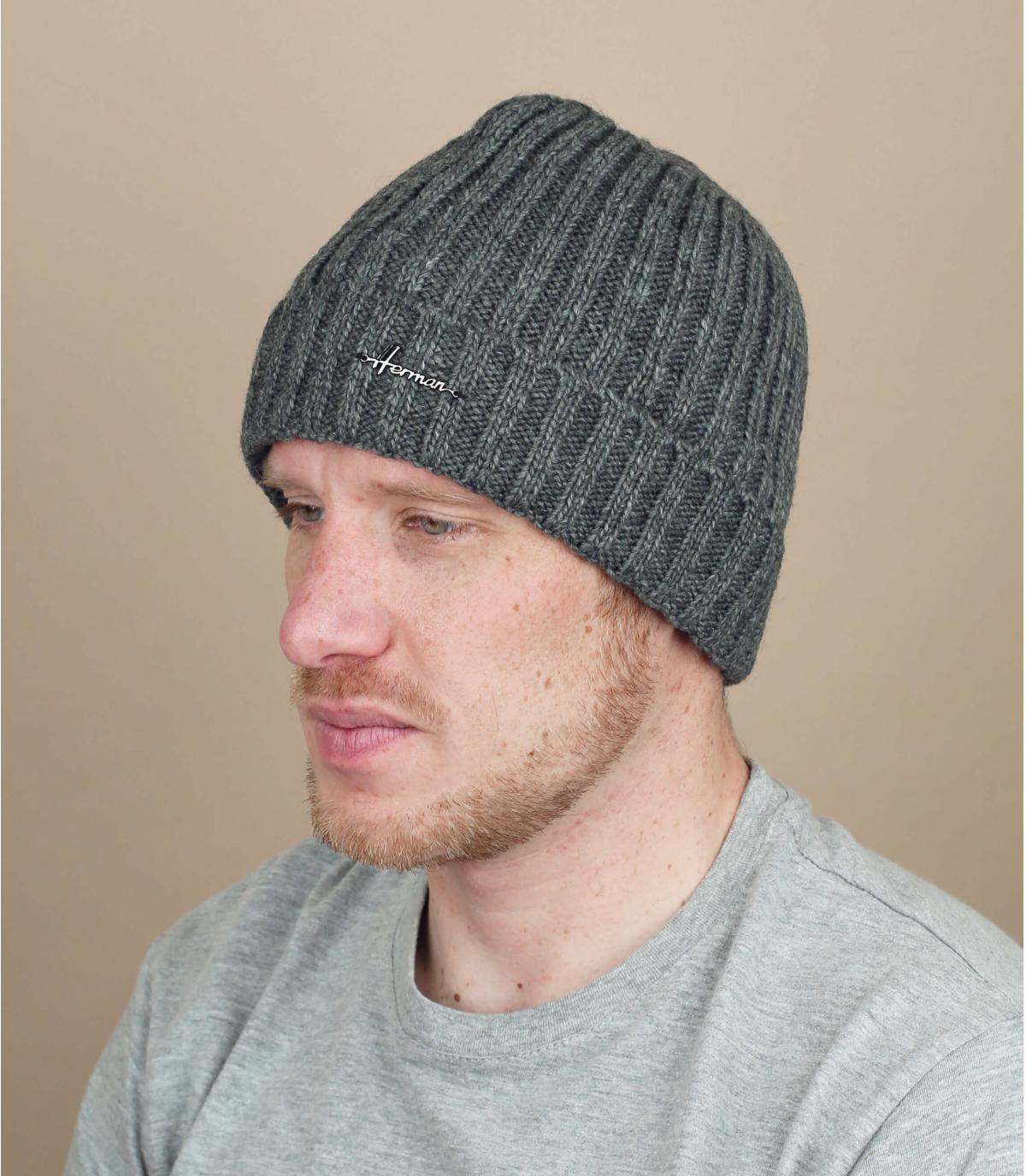 Mütze Revers Wolle grau