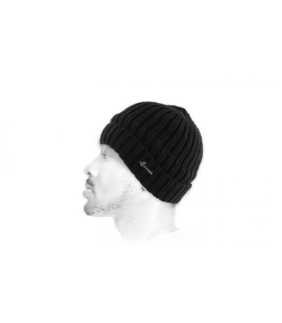 Mütze Revers Wolle schwarz