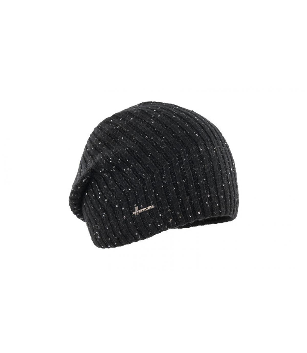 Oversize Mütze schwarz glänzend